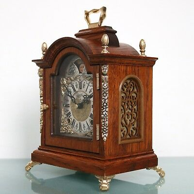 Vintage Dutch WARMINK CLOCK Mantel TOP! Moonphase HIGH GLOSS! DOUBLE Bell CHIME!