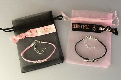 Hen Party Bride Tribe Hair Tie & Bracelet Combo In Organza Bag. Favours Gifts