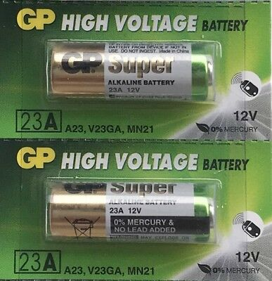 2 x GP 23A battery 12V MN21 23AE K23A V23GA FREE SHIPPING