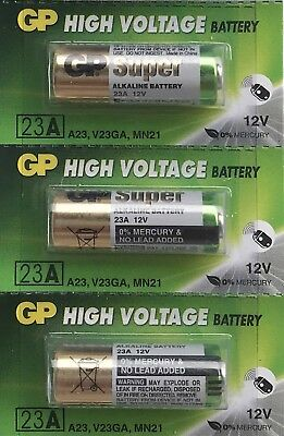 3 x GP 23A battery 12V MN21 23AE K23A V23GA FREE SHIPPING