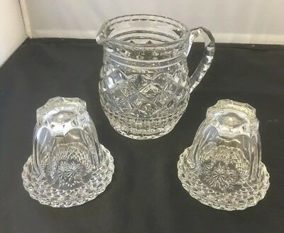 Retro Vintage Cut Glass Crystal Water Jug With Glasses & Coasters Bedroom Set