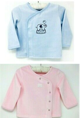 New Baby Boys Girls Pink Blue Soft Velour Cotton Wrap Cardigan Jacket Top Summer