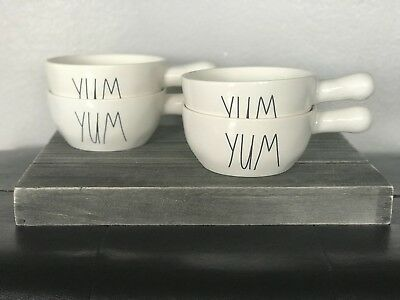RAE DUNN NEW Set of 4 YUM Soup Bowls with Handles HARD TO FIND