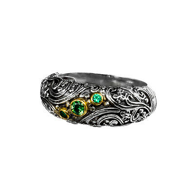 Gerochristo P2813N ~ Sterling & Gold Plated Silver Floral Band Ring with Zircons