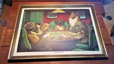 Vintage C M Coolidge Framed  A Waterloo  Print  Dogs Playing Poker / Cards old