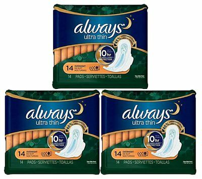 ALWAYS ULTRA THIN OVERNIGHT W/WINGS 14ct (3 PACK)