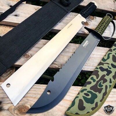 "19"" Jungle Machete Fixed Blade Hunting Knife Military Tactical Survival Sword"