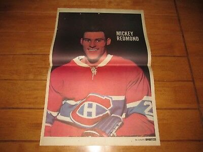1967-68 Vintage Hockey Poster MICKEY REDMOND RC Montreal Canadiens 15.5x22.5in.