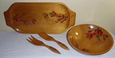 Vintage Wooden Green Mountain Woodcrafters Hand Painted Serving Set