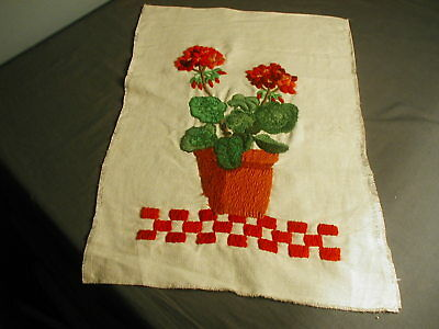 "VINTAGE CREWEL WORK W/ DESIGN FLOWER POT OF GERNAIUMS - 22"" X 14 3/4"" - t 38"