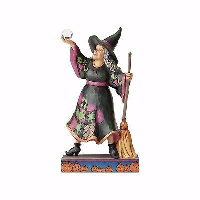 Jim Shore The Witch is In Cute Witch with Crystal Ball / Broom Heartwood Creek