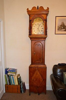 VERY LARGE ANTIQUE RED PINE GRANDFATHER CLOCK c1900