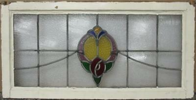"""OLD ENGLISH LEADED STAINED GLASS WINDOW TRANSOM Pretty Floral Sweep 32"""" x 16.25"""""""