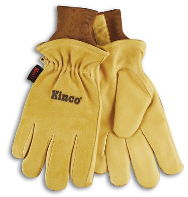 KINCO 94HK-S Men's Lined Grain Suede Pigskin Gloves, Heat Keep Lining, Small,