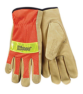 KINCO 909-L Men's Unlined Grain Pigskin Mesh Back Gloves, Safety, Large, Orange