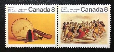 Canada #574-575a MF MNH, Subarctic Indians Pair of Stamps 1975