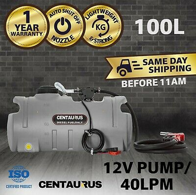 Centaurus Portable Diesel Fuel Tank With Pump 100 Litre Poly Ute Trailer