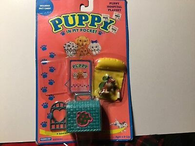 Puppy in my Pocket collie with crate and collectors card 1994