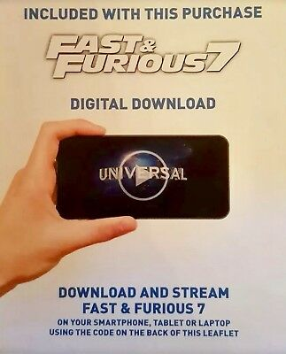 Fast & Furious 7 UK Digital HD Ultraviolet UV Download Code from 4K UHD Blu-ray