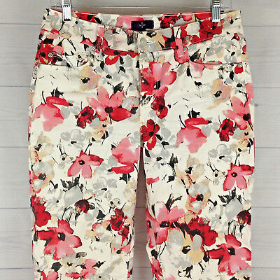 5786bc07945 NYDJ FLORAL Lift Tuck Womens Size 4 Slim ANKLE STRETCH Red White Gray Jeans