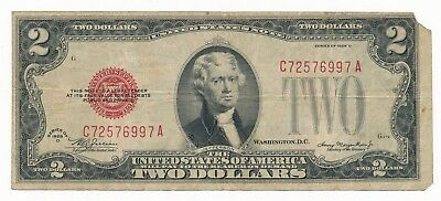 1928 D US 2 Dollars $2 Red Seal Note Rare Fine