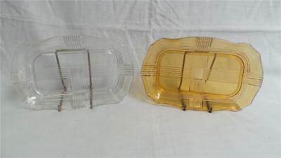 Retro Vintage Small Art Deco Glass Platters X 2 Clear & Amber