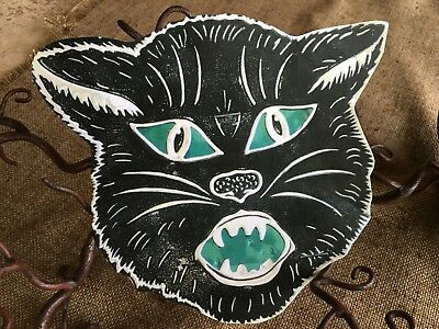 "Vintage Repro Cat Face,Red or Green Eye,Halloween Cardstock Decoration,4"",5"",6"""