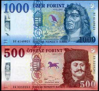 Hungary Set 2 Unc 500 1000 Forint 2017 - 2019 P New Color Security Unc