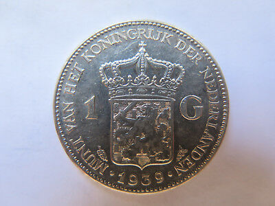 1939 NETHERLANDS HOLLAND 1 GULDEN SILVER EXCELLENT Almost UNCIRCULATED CONDITn