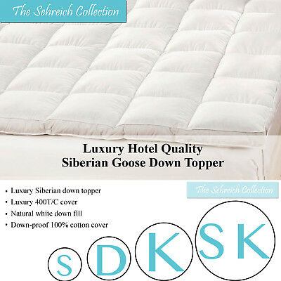 Luxury Pure Siberian Goose Down Mattress Topper Thick Bed Enhancer Hotel Quality