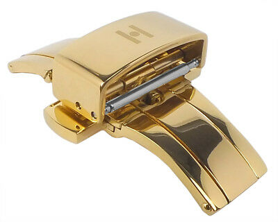 Hirsch Pusher Buckle Folding Clasp Stainless Steel Gold Coloured in 12mm 16mm