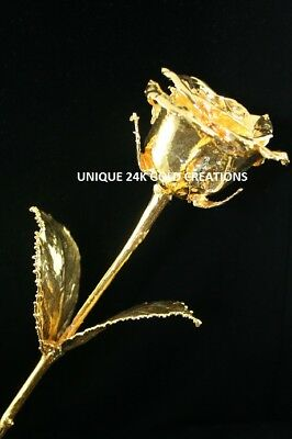 """NATURAL ROSE DIPPED PURE 24K GOLD 11.5""""  28cms WIFE MOTHER GIRLFRIEND IDEAL GIFT"""