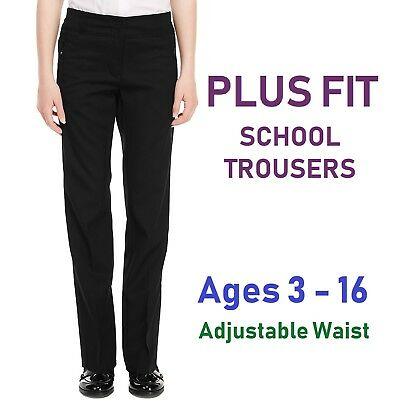 EX M&S Generous Fit Girls School Trousers Slim Leg Black School Uniform Sturdy