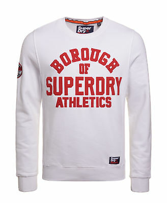 New Mens Superdry Factory Second Academy Ribbed Crew Jumoer Academy White