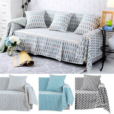 1 2 3 4 Seater Cotton Blend Chair Sofa Cover Couch Printed Slipcover Protector