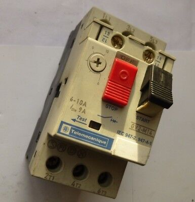 Schneider Telemecanique Thermal Motor Overload GV2-M14 6-10A  + Aux Contacts