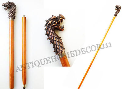 Vintage Handmade Walking Stick Nautical Dragon Handle For Collectibles Gift Item