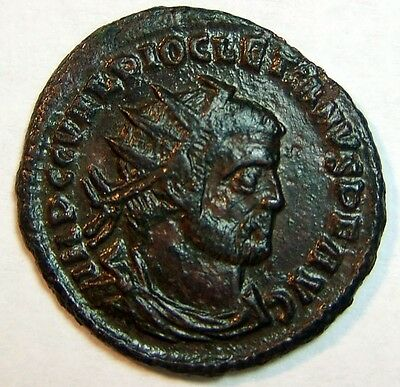 Diocletian Æ Antoninianus. Very Rich Detail. Rich Black Patina