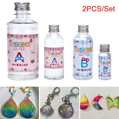 2PCS/Set Crystal ClearResin Pigment Epoxy Transparent clear Resin Art Crafts DIY