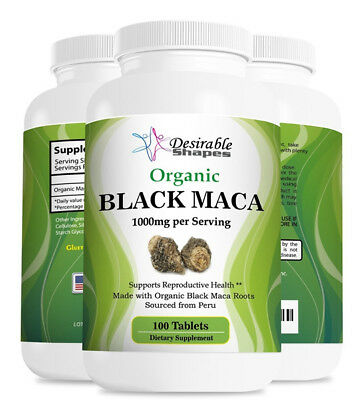 ORGANIC PERUVIAN BLACK MACA ROOT 1000mg MALE ENHANCEMENT 100 TABLETS 1 bottle