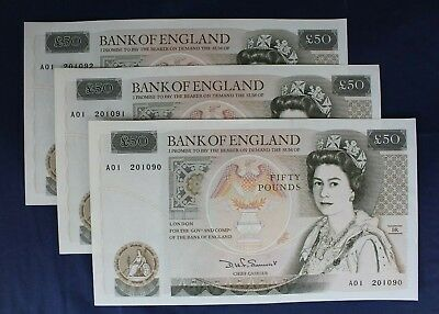 Somerset £50 Note x 3 Consecutive Numbers  A01 201090-2 a/UNC   (AB8/2)