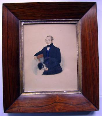 Small Portraits  A Young Gentleman With Spaniel Dog English Naive School C1835