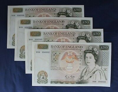 Gill £50 Note x 4 Consecutive Numbers  D56 356532-5 a/UNC   (AB8/3)