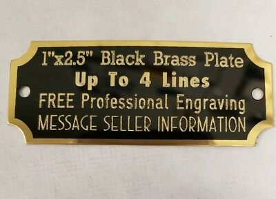 "Engraved Black Brass Plate, 1"" x 2.5"", FREE ENGRAVING plaque, award, trophy"