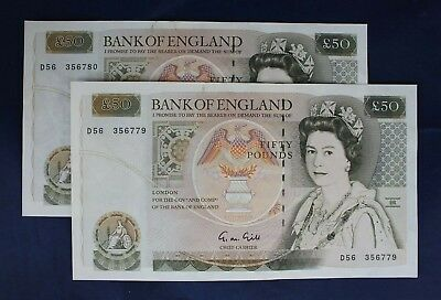 Gill £50 Note x 2 Consecutive Numbers  D56 356779-80  EF/GEF   (AB8/4)