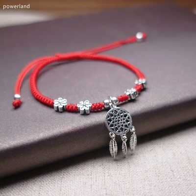Real 925 Sterling Silver  Dreamcatcher Red Bracelet For Women Lucky Bangle Wax