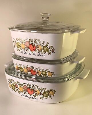 Corning Ware Spice of Life Set of 3 Casseroles w/ Lids A-2-B * A-1-B * A-1 1/2-B