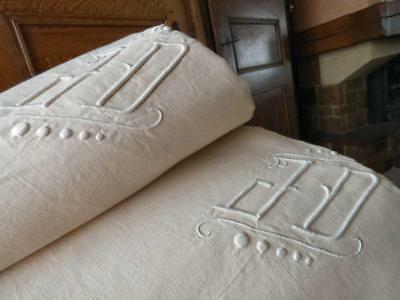 """a pair of Antique French linen cotton mix sheets  JD 82/112"""""""