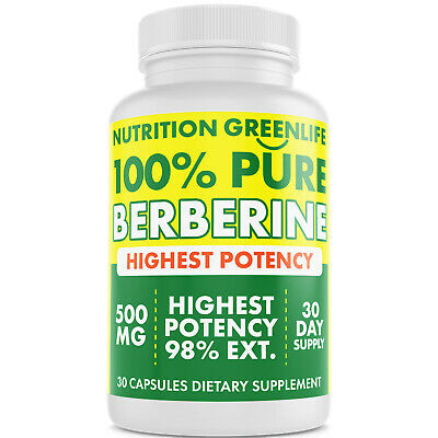100% Pure Berberine 500mg - Max Potency Extract 98% - Blood Sugar Supplement