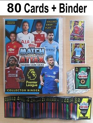 Match Attax 2018/2019 Collector Binder + 80 Random Cards + Limited GOLD 2018/19
